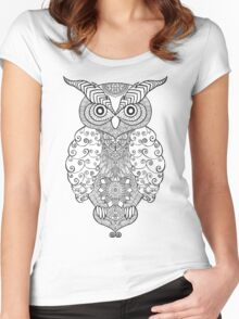 Black white hand draw ornamental owl Women's Fitted Scoop T-Shirt