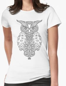Black white hand draw ornamental owl Womens Fitted T-Shirt