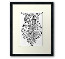 Black white hand draw ornamental owl Framed Print