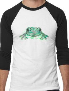 Zentangle stylized frog with abstract  colorful grunge background Men's Baseball ¾ T-Shirt