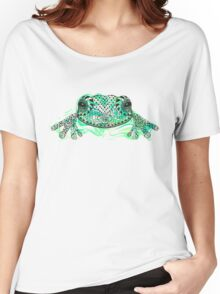 Zentangle stylized frog with abstract  colorful grunge background Women's Relaxed Fit T-Shirt
