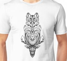 Wolf Bear and Stag totem pole Unisex T-Shirt
