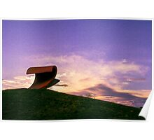 Sunset over the wave sculpture Poster