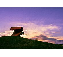 Sunset over the wave sculpture Photographic Print