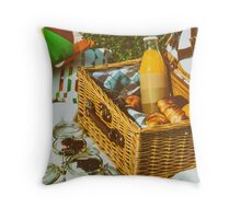 Picnic Basket With Fruits, Orange Juice, Croissants And No Bake Blueberry And Strawberry Jam Cheesecake Throw Pillow