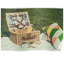 Picnic Basket With Fruits, Orange Juice, Croissants And No Bake Blueberry And Strawberry Jam Cheesecake Poster