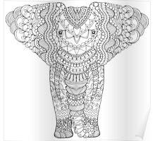 Fancy hand drawn elephant head. Poster