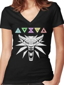The Witcher signs and wolf Women's Fitted V-Neck T-Shirt