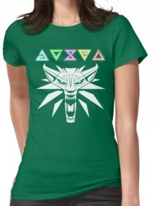 The Witcher signs and wolf Womens Fitted T-Shirt