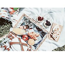 Picnic Basket With Fruits, Orange Juice, Croissants, Quesadilla And No Bake Blueberry And Strawberry Jam Cheesecake Photographic Print
