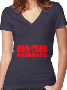 Half Man Half Biscuit RED Women's Fitted V-Neck T-Shirt