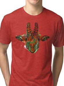 Hand drawn zentangle stylized giraffe Tri-blend T-Shirt