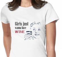 Girls Wine Drinking Alcohol Fun Funny Shirt  Womens Fitted T-Shirt