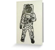 Blockprint Astronaut - Black and White Greeting Card