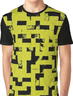 Line Art - The Bricks, tetris style, yellow and black Graphic T-Shirt