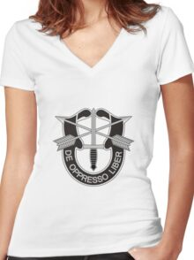 Special Forces - insignia (United States Army) Women's Fitted V-Neck T-Shirt