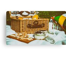 Picnic Basket With Fruits, Orange Juice, Croissants, Quesadilla And No Bake Blueberry And Strawberry Jam Cheesecake Canvas Print