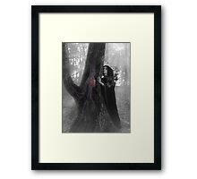 Woman druid listening to heartbeat of the tree Black and white art photo print Framed Print