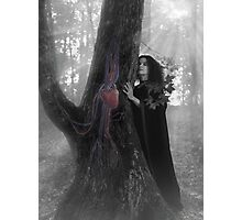 Woman druid listening to heartbeat of the tree Black and white art photo print Photographic Print