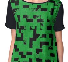 Line Art - The Bricks, tetris style, green and black Chiffon Top