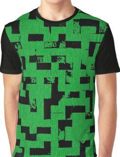 Line Art - The Bricks, tetris style, green and black Graphic T-Shirt