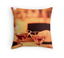 Martini glass on a table Throw Pillow