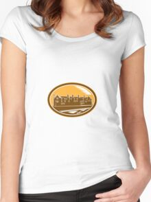 Old Building Cambridge Woodcut Retro Women's Fitted Scoop T-Shirt