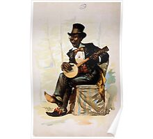 Performing Arts Posters African American in tuxedo and top hat seated playing banjo 1747 Poster