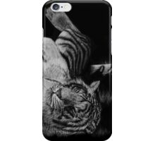 White Tiger Rolling in Grass iPhone Case/Skin