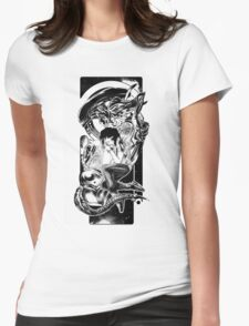 Goodnight Newt | Black and White Womens Fitted T-Shirt