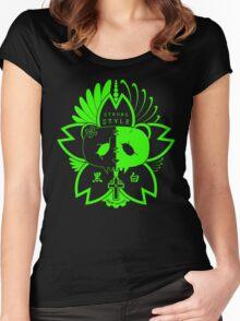 Panda Paw Paw Sakura T-Shirt Design (Green) Women's Fitted Scoop T-Shirt