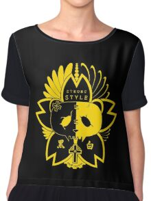 Panda Paw Paw Sakura T-Shirt Design (Yellow) Chiffon Top