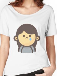 Mini Characters - Sadface Crying Girl Women's Relaxed Fit T-Shirt