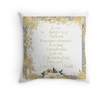 Love is.......faith,christian,typography,gold,glitter,glam,text,flowers,floral,modern  Throw Pillow