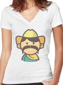 Mini Characters - Big Mustache Mexican Man Women's Fitted V-Neck T-Shirt