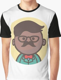 Mini Characters - Black Hipster Man Graphic T-Shirt
