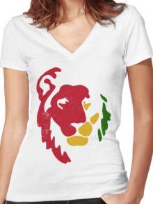 Lion Rasta Reggae Women's Fitted V-Neck T-Shirt