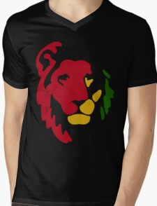Lion Rasta Reggae Mens V-Neck T-Shirt