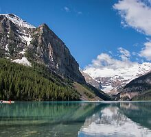Red Kayak in Lake Louise, Alberta, Canada by Gerda Grice