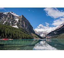Red Kayak in Lake Louise, Alberta, Canada Photographic Print
