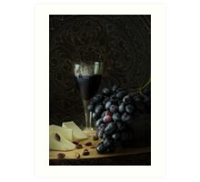 Bowl with cluster of grapes and a glass of red wine Art Print