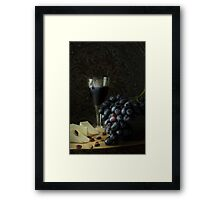 Bowl with cluster of grapes and a glass of red wine Framed Print
