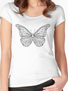 Beautiful black white butterfly Women's Fitted Scoop T-Shirt