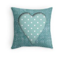 Burlap,teal,heart,white,teal,polka dots,modern,trendy,girly,St.valentine,Valentines day Throw Pillow