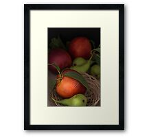 Organic pears and peaches Framed Print