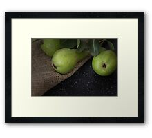Green organic pears on cloth Framed Print