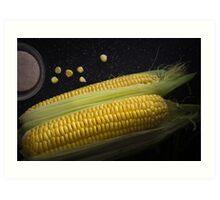 Organic raw corn and salt Art Print