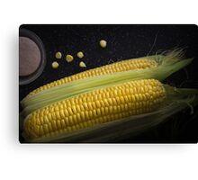 Organic raw corn and salt Canvas Print