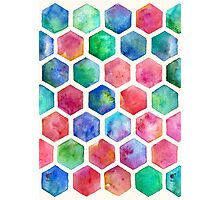 Hand Painted Watercolor Honeycomb Pattern Photographic Print