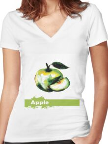 illustration of fruit apple Women's Fitted V-Neck T-Shirt